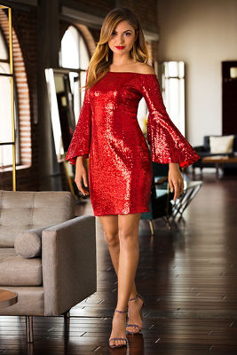 Sequin off-the-shoulder dress
