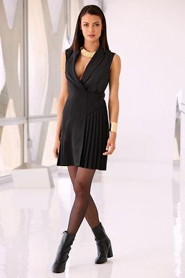 Pleat belted dress