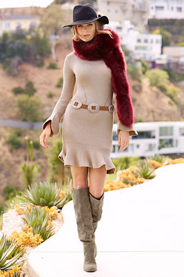 Ruffle long sleeve sweater dress