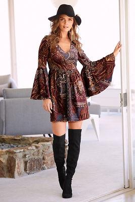 Frosted paisley velvet dress