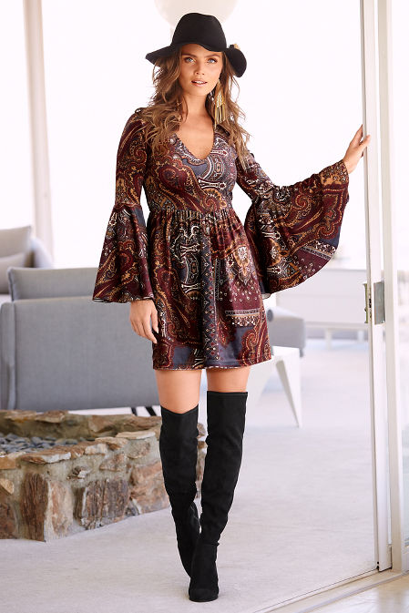 Frosted paisley velvet dress image