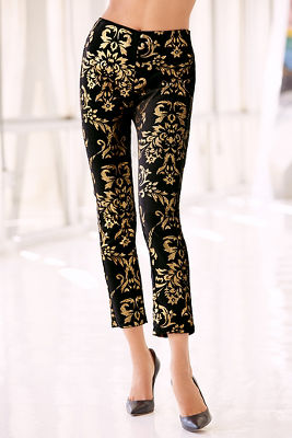 Back zip printed foil pant