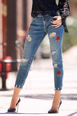 Driftwood rose patch jean