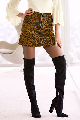 Leopard ring zipper mini skirt