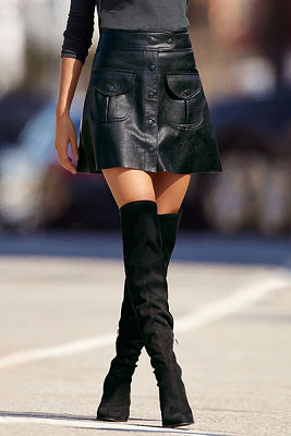 Leather A-line mini skirt