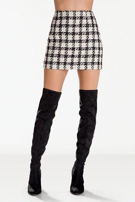 Plaid tweed mini skirt