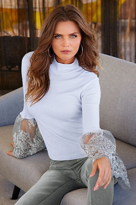 Shimmer lace bell-sleeve sweater