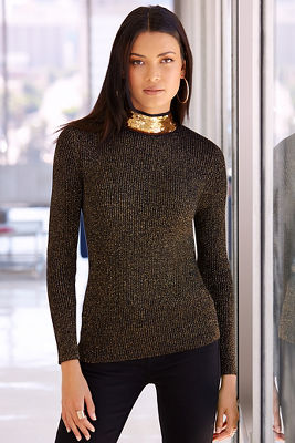 Metallic sequin detail sweater