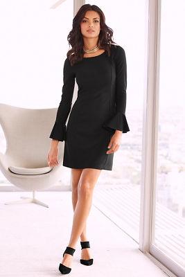 Travel flare cuff sleeve dress