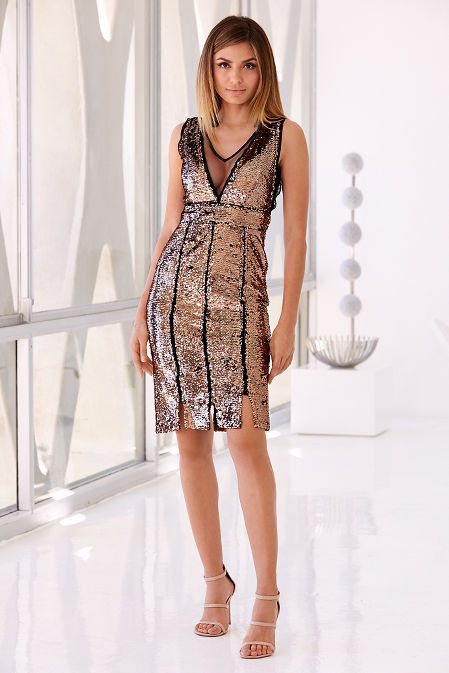 Sequin and mesh dress image
