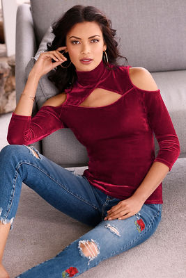 Velvet cutout turtleneck top