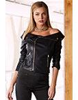 Off-the-shoulder Vegan Leather Jacket Photo