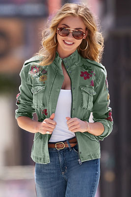 Twill embroidered jacket