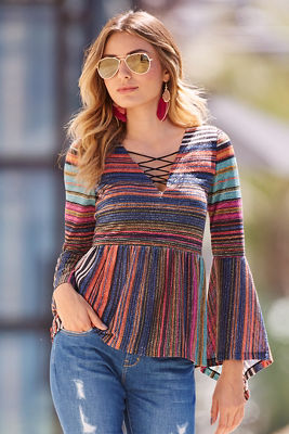 Multistriped Lurex sweater