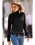 Ribbed High Neck Fringe Sweater Photo
