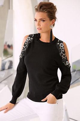 Cold shoulder embellished beaded sweater