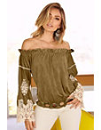 Off-the-shoulder Vegan Suede Embroidered Top Photo