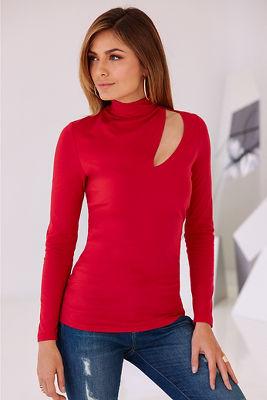 So Sexy&#8482 slit mock-neck top