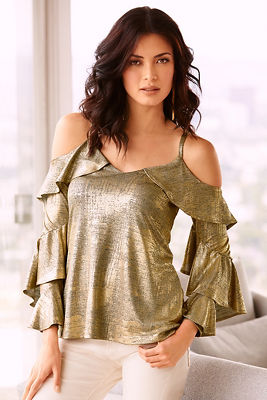 Cold shoulder metallic ruffle top