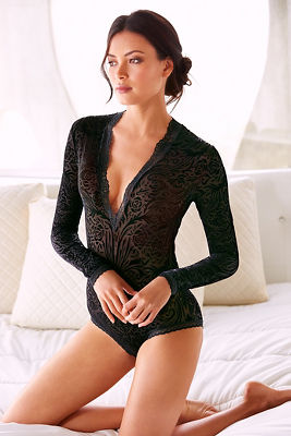 Velvet patterned bodysuit