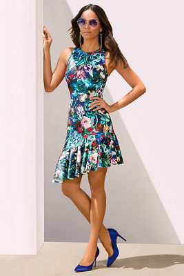 Floral asymmetric hem dress