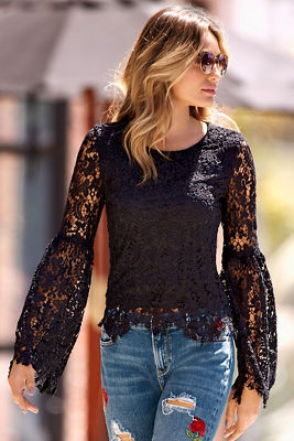 allover lace bell-sleeve top