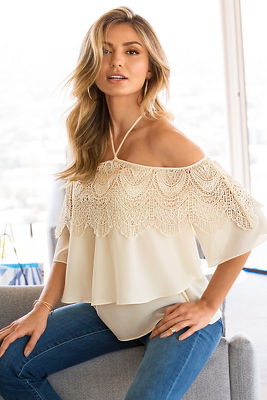 Halter cold-shoulder lace top
