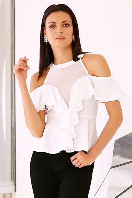 Sweetheart ruffle blouse