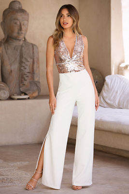 Mixed sequin split-hem jumpsuit