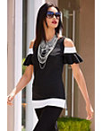 Travel Colorblock Cold Shoulder Ruffle Top Photo