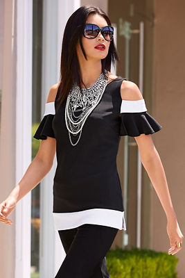 Travel colorblock cold shoulder ruffle top