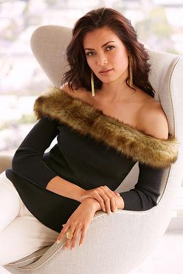 Off-the-shoulder faux fur sweater
