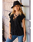 Ribbed Ruffle Lace-up Top Photo