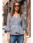 Striped Ruched Sleeve Blouse Photo