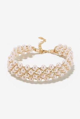 Pearl net choker necklace