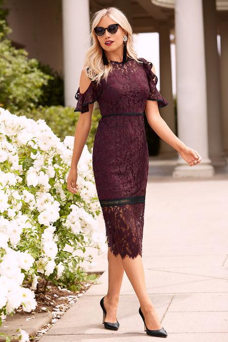 Flutter sleeve cold shoulder lace dress image