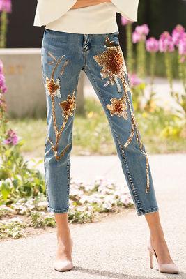 Sequin flower patch jean