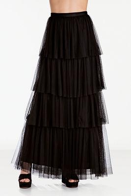 Tiered ruffle tulle maxi skirt