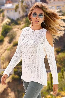 Cold shoulder cable embellished sweater