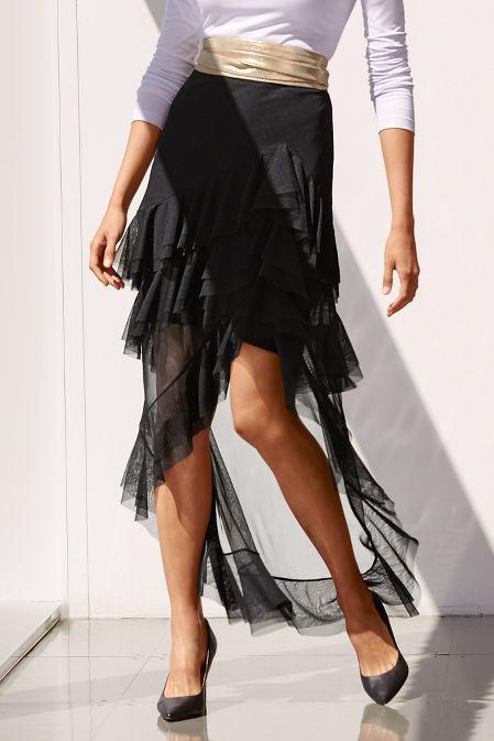 Asymmetric ruffle tulle skirt image