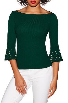 Bateau-neck pearl sleeve sweater