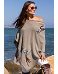 Bird Embroidered Sweater Poncho Photo