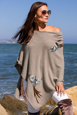 Bird embroidered sweater poncho