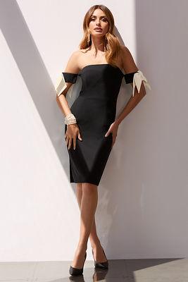 Bow-sleeve strapless dress