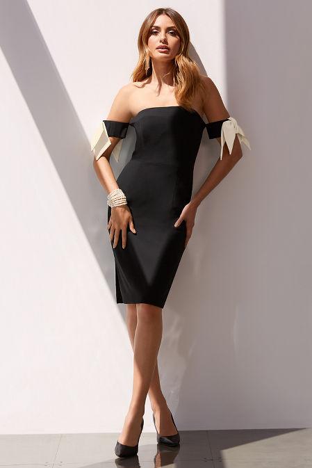 Bow-sleeve strapless dress image