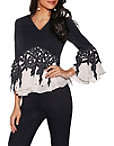 Colorblock Lace V-neck Top Photo
