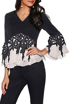 Colorblock lace v-neck top