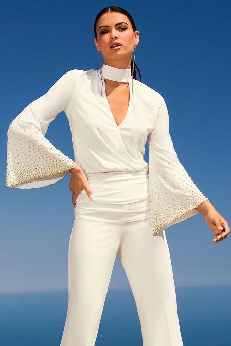 Flare sleeve embellished mock neck blouson top image