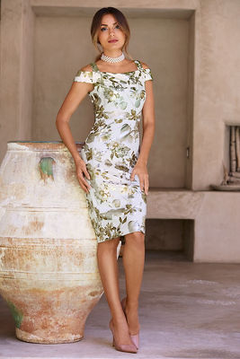 Floral cold-shoulder metallic dress