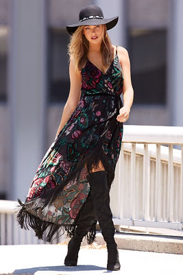 Floral velvet fringe wrap maxi dress